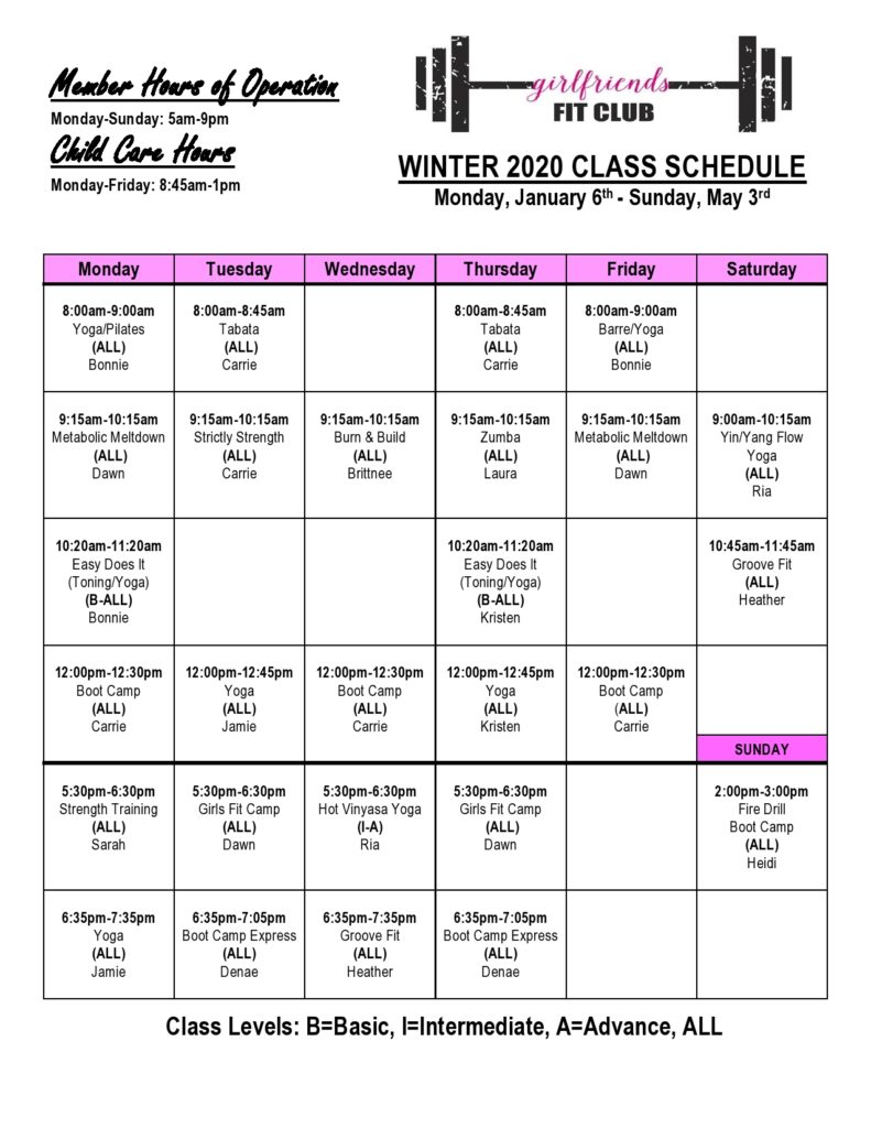 Girlfriends fit club schedule